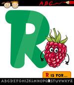 Letter r with raspberry cartoon illustration — Stock Vector