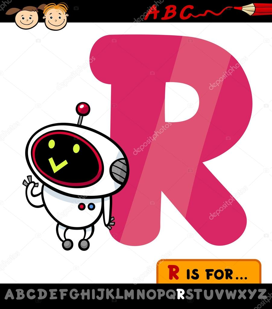 Lettera r con illustrazione di cartone animato robot
