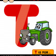 Letter t with tractor cartoon illustration — Stock Vector