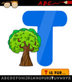 Letter t with tree cartoon illustration — Stock Vector