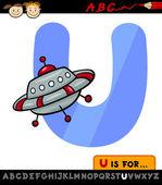 Alfabet u met ufo cartoon illustratie — Stockvector