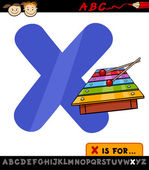 Letter x with xylophone cartoon illustration — Stock Vector
