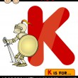 Letter k for knight cartoon illustration — Stock Vector #29515769