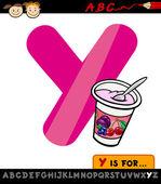 Letter y with yogurt cartoon illustration — Stock Vector