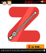Letter z with zipper cartoon illustration — Stock Vector