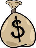 Sack of dollars clip art cartoon illustration — Stock Vector