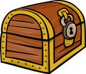 Treasure chest clip art cartoon illustration — Stock Vector