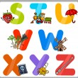 Stock Vector: Education Cartoon Alphabet Letters for Kids