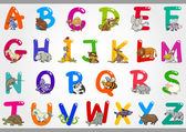 Cartoon-alphabet mit illustrationen — Stockvektor