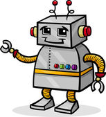 Cartoon robot or droid illustration — Vector de stock