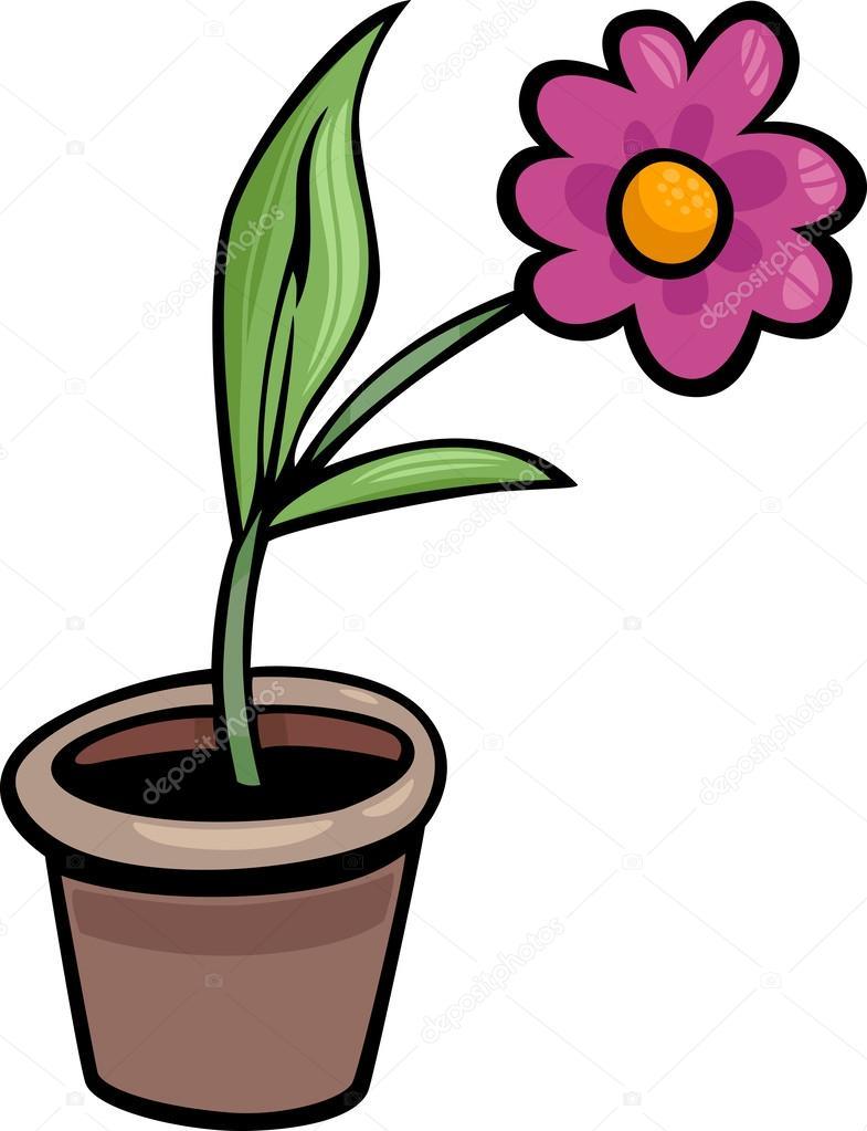 flor em vaso clip arte desenho ilustração - Ilustração de Stock