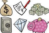 Valuable objects cartoon illustration set — Stock Vector