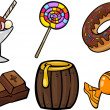 Sweet food objects cartoon illustration set — Stock Vector