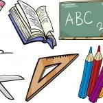 School objects cartoon illustration set — Stock Vector #30957341
