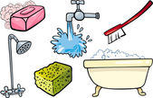 Hygiene-objekte cartoon-illustration-satz — Stockvektor