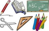 School objects cartoon illustration set — Stock Vector