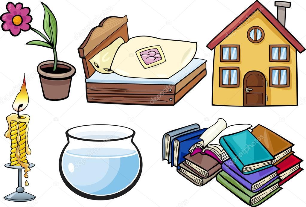 Ilustraci n conjunto de dibujos animados de los objetos for Objetos decorativos para el hogar