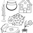 Cartoon home objects coloring page — Stock Vector