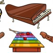 Musical objects cartoon illustration set — Stockvektor