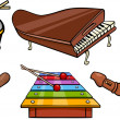 Musical objects cartoon illustration set — Imagens vectoriais em stock