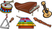 Musical objects cartoon illustration set — Stock Vector