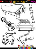 Cartoon music instruments coloring page — Stock Vector