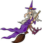Witch on broom cartoon illustration — Stock Vector