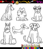 Cartoon Dog Breeds Coloring Page — Stock Vector