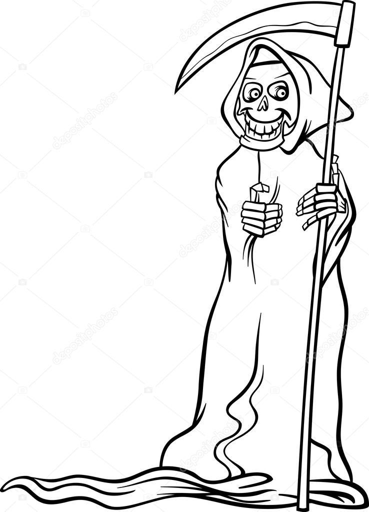 Cartone animato scheletro di morte per libro da colorare