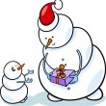 Christmas snowmen cartoon illustration — Stock Vector