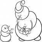 Christmas snowmen coloring page — Stock Vector