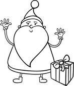 Santa claus cartoon coloring page — Stock Vector
