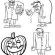 Stock Vector: Halloween Cartoon Themes for Coloring Book