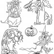 Постер, плакат: Halloween Cartoon Themes for Coloring Book