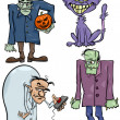 Постер, плакат: Halloween Cartoon Creepy Themes Set