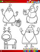 Cartoon christmas themes coloring page — Stock Vector