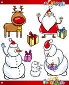 Santa and Christmas Themes Cartoon Set — Stock Vector