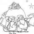 Stock Vector: Christmas santclaus coloring page
