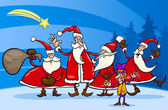 Santa claus group cartoon illustration — Vecteur