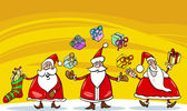 Santa claus christmas group cartoon — Vector de stock