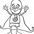 Boy in hero costume coloring page — Stock Vector