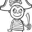 boy in pirate costume coloring page — Stock Vector