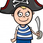 Boy in pirate costume cartoon — Stock Vector