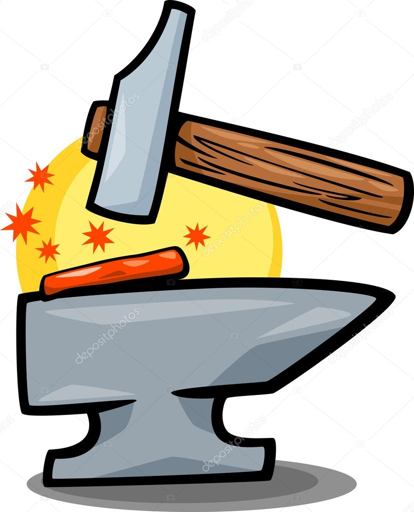 Hammer And Anvil Clip Art Cartoon Stock Vector Izakowski