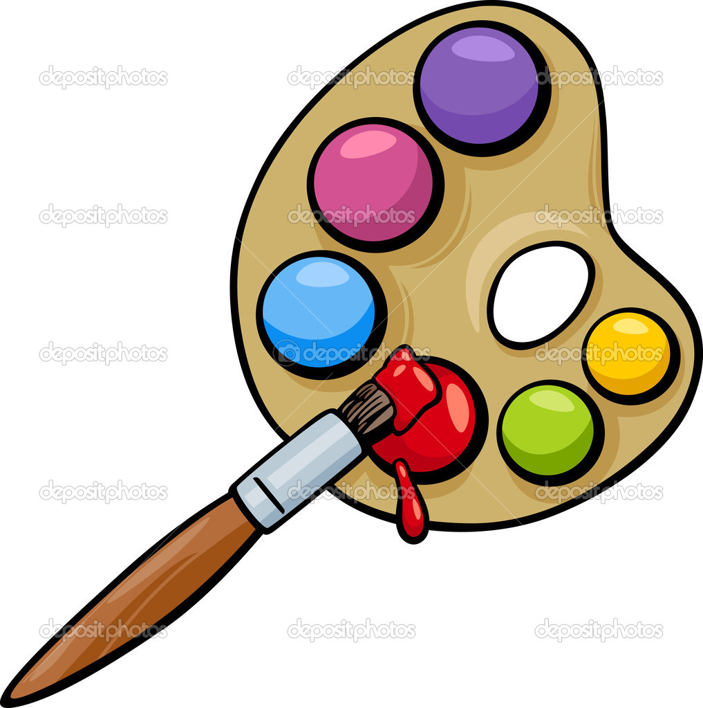 Pinsel und Palette Clip Art cartoon — Stockvektor © izakowski ...