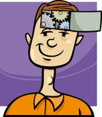 Illustration de dessin animé de gars intelligent — Vecteur