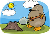 Mole with shovel cartoon illustration — Stock Vector