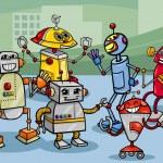 Robots group cartoon illustration — Stock Vector #32971967