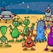 Постер, плакат: Ufo aliens group cartoon illustration
