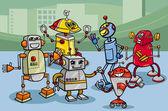Robots group cartoon illustration — Stock Vector